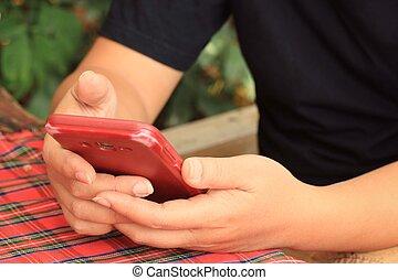 Utilizar, mujer, elegante, teléfono