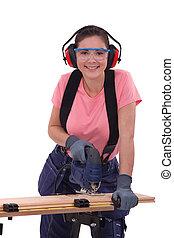 utilizar, mujer, rompecabezas, eléctrico