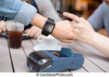 utilizar, mujer, teléfono celular, paga