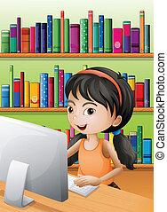 utilizar, niña, computadora, joven, biblioteca
