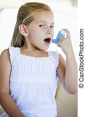 utilizar, niña, inhalador