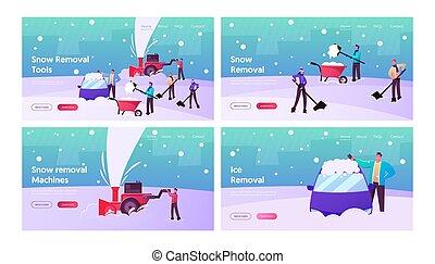 utilizar, nieve, calle, el quitar, feliz, mover pala, aterrizaje, página, caracteres, snowblower, plantilla, set., palas, invierno