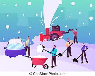 utilizar, nieve, mover pala, calle, camino, el quitar, feliz, después, limpieza, caracteres, snowblower, nevada, palas