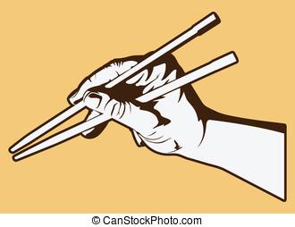 utilizar, palillos
