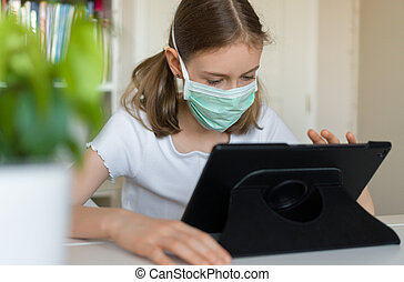 utilizar, pc, quarantine., niña, tableta, poco, durante
