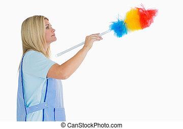 utilizar, pluma, mujer, limpieza, plumero