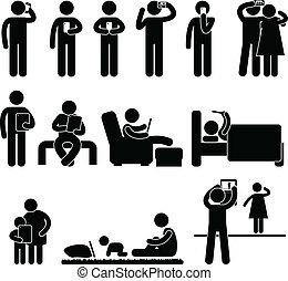 utilizar, smartphone, tableta, hombre