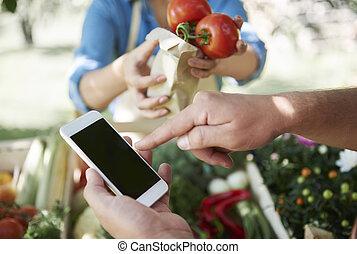 utilizar, tecnología inalámbrica, para pagar, para, alimento