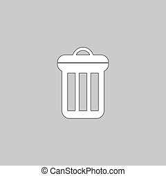 utilize Simple line vector button. Thin line illustration icon. White outline symbol on grey background
