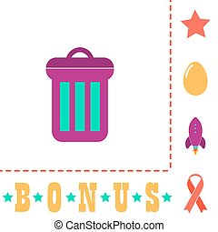 utilize Simple vector button. Flat color icon on white background and bonus pictogram Star, Egg, Rocket, Ribbon