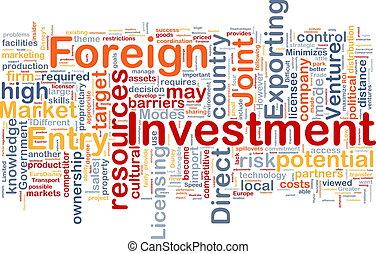 utländsk, bakgrund, begrepp, investering