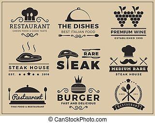 utmärkelsetecken, kokkonst, restaurang, logo
