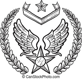 utmärkelsetecken, militär, styrka, oss, luft
