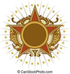 utmärkelsetecken, -, stjärna gestaltade