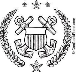 utmärkelsetecken, vakt, oss, kust
