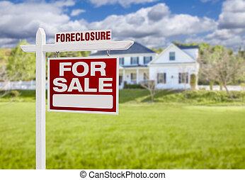 utmätning, hus, realisation signera, stort, främre del, hem