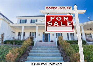 utmätning, realisation signera, house., fasadbeklädnad, vänster, främre del, egendom, verklig