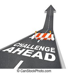 utmaning, framåt, hål, in, väg konstruktion, fara, varning