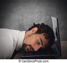 utmattning, från, tröttköra