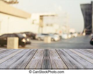 utomhus, över, suddig, perspektiv, bord, din, product., -, bakgrund., ved, bord, fläck, tom, kan, vara, använd, image., parkera, products., grå, montage, bil, uppe, eller, filtrera, trä, driva med, årgång, röja