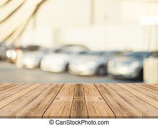 utomhus, brun, över, suddig, perspektiv, bord, din, product., -, bakgrund., ved, bord, fläck, tom, kan, vara, använd, image., parkera, products., montage, bil, uppe, eller, filtrera, trä, driva med, årgång, röja