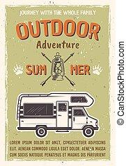 utomhus, buss, affisch, vektor, äventyr, husvagn