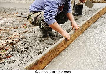 utomhus, cement, arbete, stuck