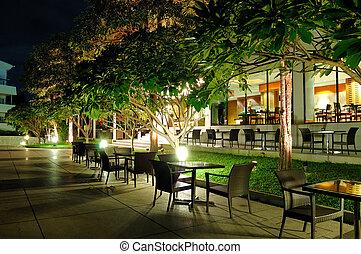 utomhus, inomhus, pattaya, restaraunts, natt, thailand, belysning