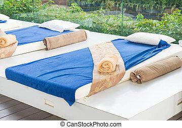 utomhus, massera, säng