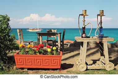 utomhus, (nargile), restaurang, waterpipes, turkisk, medelhavet, två, traditionell, hav, bord, turkey., kemer, synhåll