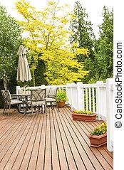 utomhus, naturlig, ceder, däck, med, patio möblemang