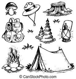 utomhus, tema, teckningar, kollektion