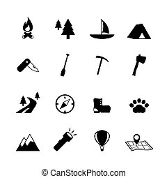 utomhus, turism, camping, pictograms