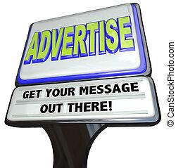 utomhus, underteckna, annons, annonsera, meddelande, lager