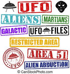 utomjordiskt väsen, sätta, frimärken, ufo