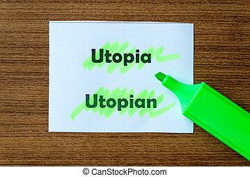 utopía, hightlighted, palabra