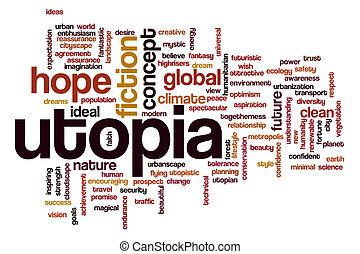 Utopia concept word cloud background