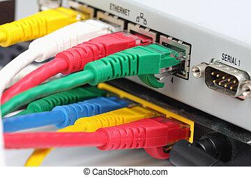 utp, lan, collegare, il, ethernet vira, schiena, di, il, router.