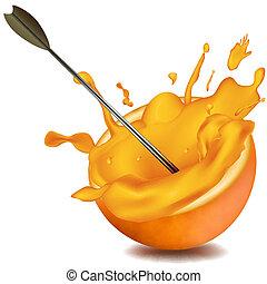 utrafiając, pomarańcza, strzała