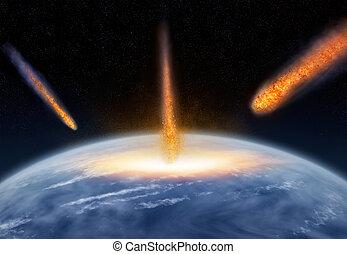 utrafiając, ziemia, meteory