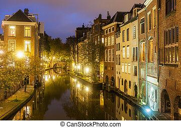 Utrecht architecture along the canal. Utrecht, South...