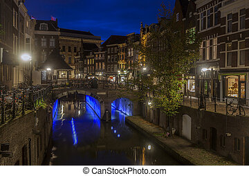 Utrecht architecture at night. Utrecht, South Holland,...