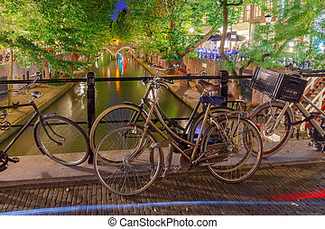 Utrecht. Canal in the center of the city at sunset. - Canal...