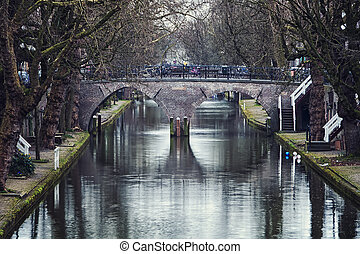 Utrecht city center - The Oudegracht area - a canal...