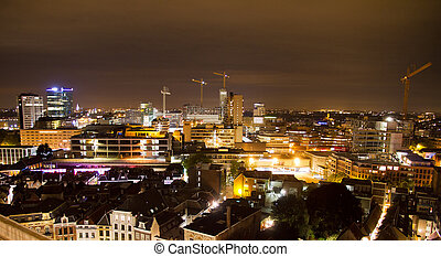 Utrecht cityscape - Cityscape towards the railway station in...