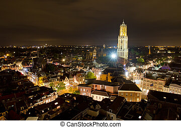 Utrecht skyline - Cityscape of the city of Utrecht at night...