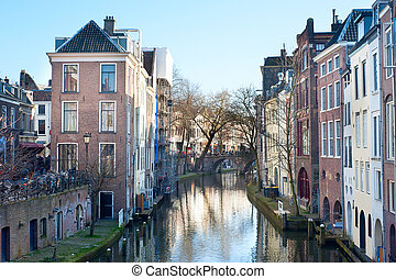 Utrecht street - Canals in old town of Utrecht in the day....
