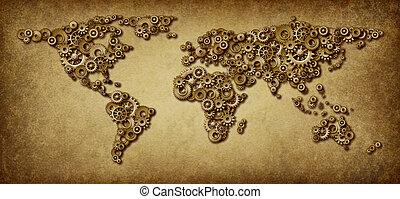 utrikes ekonomi, gammal, karta