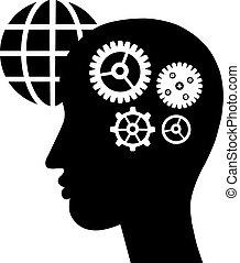 utrustar, hjärna, symbol
