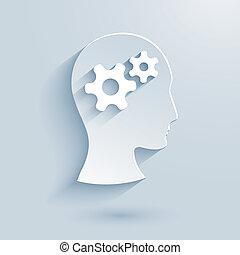 utrustar, huvud, papper, ikon, mänsklig